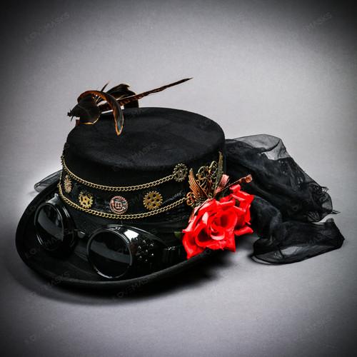 Women Steampunk Goggles Victorian Top Hat - Black