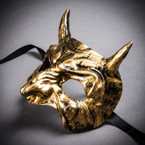 Goblin Devil Short Horn Eyes Mask - Black Gold