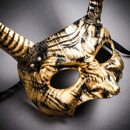 Goblin Devil Long Horn Eyes Mask - Black Gold