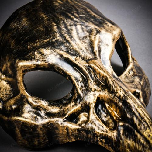 Raven Skull Bird Nose Masquerade Mask - Black Gold