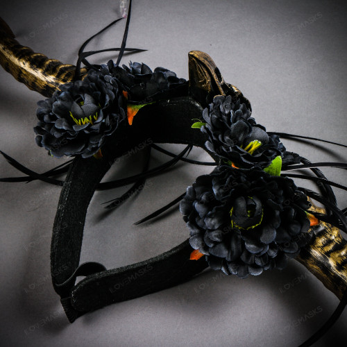 Gothic Demon Long Horn with Flower Head Piece - Black Gold