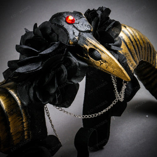 Gothic Demon Raven Skull Large Horn & Rose Headband - Black Gold
