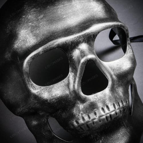 Skull Halloween Masquerade Full Face Mask - Black Silver
