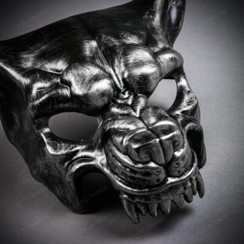 Angry Metallic Wolf Masquerade Mask - Black Silver