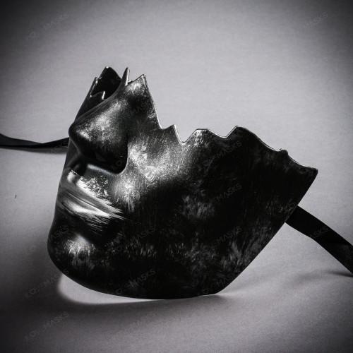 Unpainted Lower Half Face Costume Masks Masquerade - Black Silver