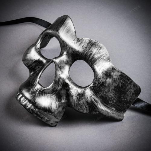 Halloween Half Skull Face Mask Masquerade Day of the Dead - Black Silver
