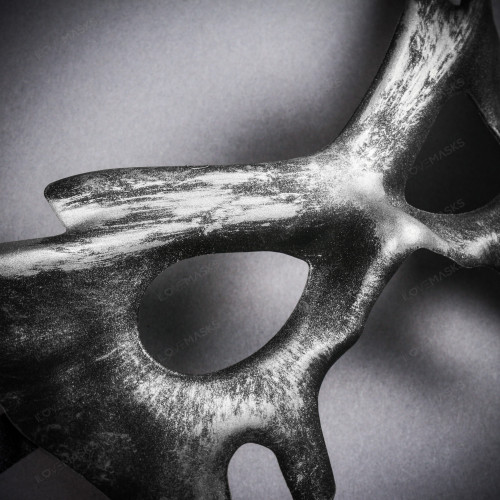 Devil Halloween Masquerade Eye Mask - Black Silver