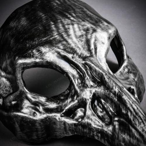 Raven Skull Bird Nose Masquerade Mask - Black Silver