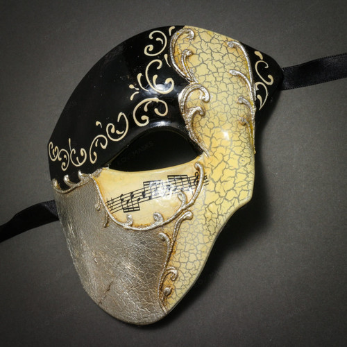 Phantom Of Opera Musical Masquerade Venetian Men Half Mask - Black Silver
