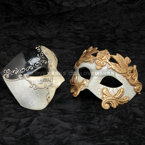 Black Phantom of Opera Musical and Gold Roman Warrior Metallic Mask Combo