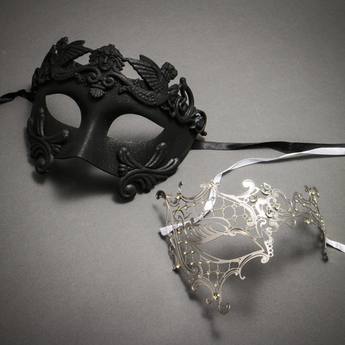 Black Roman Warrior Metallic Mask & Silver Venetian Masquerade Phantom Mask with Silver Swarovki - Couple