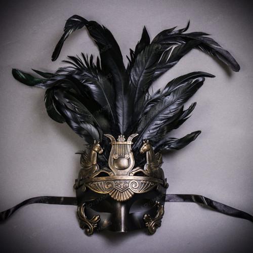 Venetian Roman Greek Pegasus Horses Feather Mask - Dark Gold Black