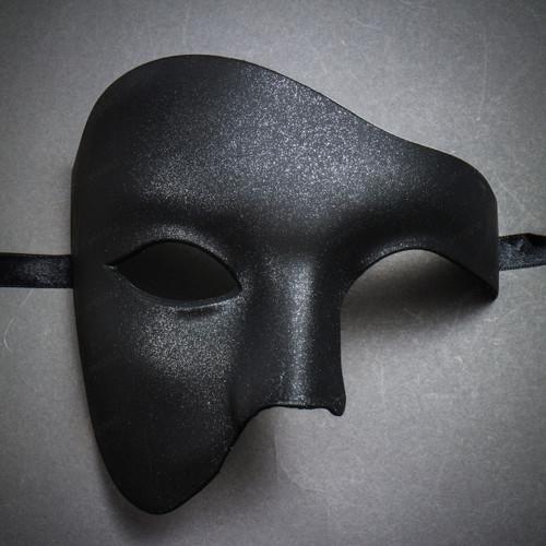 Phantom Venetian Masquerade Half Face Party Mask - Black