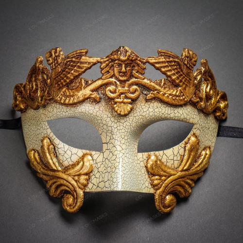 Roman Greek Emperor Masquerade Venetian Mask-Cracked White Gold