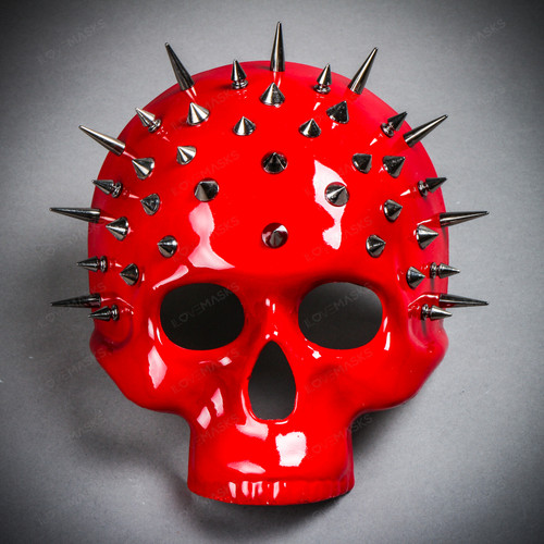 Steampunk Spikes Skull Venetian Masquerade Half Face Mask - Glossy Red