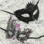 Black Full Face Greek Emperor and Black Purple Swan Mask for Couple