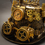 Steampunk Mad Scientist Time Traveler Top Hat - Antique Gold (Goggles Detail)