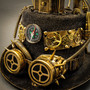 Steampunk Mad Scientist Time Traveler Top Hat with Light - Antique Gold  (Goggles View)