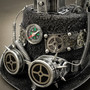 Steampunk Mad Scientist Time Traveler Top Hat with Light - Antique Silver (Detail View)