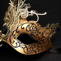 Side Butterfly Masquerade Costume Party Mask - Gold