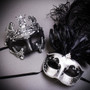 Black Silver Venetian Rome Warrior & Luxury Feather Masquerade - Couple Mask