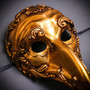 Plague Doctor Zanni Curved Long Nose Venetian Mardi Gras Mask Masquerade - Gold