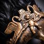 Venetian Feather Masquerade Mask Swan Angel Warrior - Gold