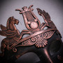 Roman Greek Emperor with Pegasus Horses Venetian Mask - Copper Black