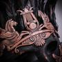 Roman Greek Emperor Pegasus Horses Venetian Feather Mask - Black Copper