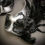 Silver Black Side Feather Glitter & Silver Black Mardi Gras Top Feather Combo Masks Set