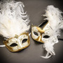 White Gold Side Feather Glitter & White Gold Mardi Gras Top Feather Combo Masks Set