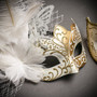 White Gold Butterfly Lace with Feather & Gold White Side Feather Glitter Combo Masks Set