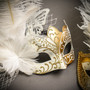 White Gold Butterfly Lace with Feather & White Gold Mardi Gras Top Feather Combo Masks Set