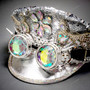 Military Burning Man Top Hat with Kaleidoscope 3D Goggle - Silver