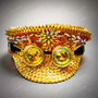 Military Burning Man Top Hat with Kaleidoscope 3D Goggle - Gold