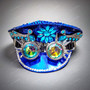 Military Burning Man Top Hat with Kaleidoscope 3D Goggle - Blue