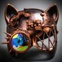 Steampunk Monocular Gatto Cat Venetian Mask Masquerade - Bronze Copper