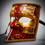 Full Face Luxury Bauta Venetian Party Mask Masquerade - Red Gold