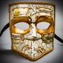 Full Face Luxury Bauta Venetian Party Mask Masquerade - White Gold