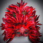 Luxury Traditional Venice Carnival Masquerade Venetian Top Feather Mask - Red