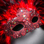 Luxury Traditional Venice Women Carnival Masquerade Venetian Feather Eye Mas