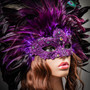 Luxury Traditional Venice Women Carnival Masquerade Venetian Mask with Round Top Feather -  Purple