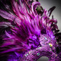 Luxury Traditional Venice Women Carnival Masquerade Venetian Mask - Purple (Feather)
