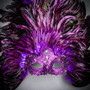 Luxury Traditional Venice Women Carnival Masquerade Venetian Mask - Purple (Close up)