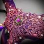Krampus Horn Lace  Animal Devil Women Mask - Purple Gold