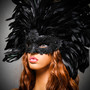 Luxury Traditional Venice Women Carnival Masquerade Venetian Mask with Round Top Feather -  Black