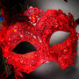 Luxury Traditional Venice Women Carnival Masquerade Venetian Mask with side Feather -  Red