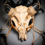 Devil Horn Demon Skull Head Cover Half Face Mask with Feather - Black (Close Up)