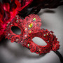 Luxury Venice Women Carnival Masquerade Venetian Mask with side Feather - Red (Close Up)