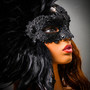 Luxury Venice Women Carnival Masquerade Venetian Mask with side Feather -  Black